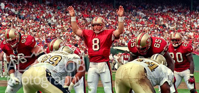 San Francisco 49ers vs. New Orleans Saints at Candlestick Park Sunday, September 14, 1997.  49ers beat Saints  33-7.  San Francisco 49ers quarterback Steve Young (8).