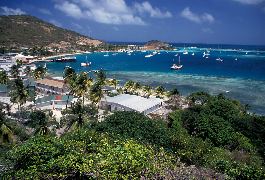 AJ2517, Caribbean, Union Island, Grenadine Islands, Caribbean Islands, Scenic aerial view of Clifton Harbor on Union Island in the St. Vincent Grenadines (a British Commonwealth member).