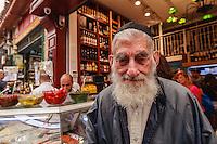 Israel,Jerusalem, an orhodox jude man portrait in   the Mahane Yehuda Open Air Food Market,