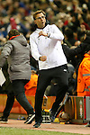 Manager of Liverpool, Jurgen Klopp celebrates his sides second goal during the UEFA Europa League match at Anfield. Photo credit should read: Philip Oldham/Sportimage