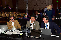 Los Angeles, CA - Thursday January 12, 2017: Houston Dash Head Coach Randy Waldrum prior to the 2017 NWSL College Draft at JW Marriott Hotel.