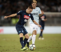 Calcio, Serie A: Roma, stadio Olimpico, 20 settembre 2017.<br /> Napoli's Marko Rog (l) in action with Lazio's Luis Alberto Romero (r) during the Italian Serie A football match between Lazio and Napoli at Rome's Olympic stadium, September 20, 2017.<br /> UPDATE IMAGES PRESS/Isabella Bonotto