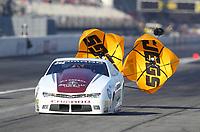 Feb 7, 2020; Pomona, CA, USA; NHRA pro stock driver Aaron Stanfield during qualifying for the Winternationals at Auto Club Raceway at Pomona. Mandatory Credit: Mark J. Rebilas-USA TODAY Sports