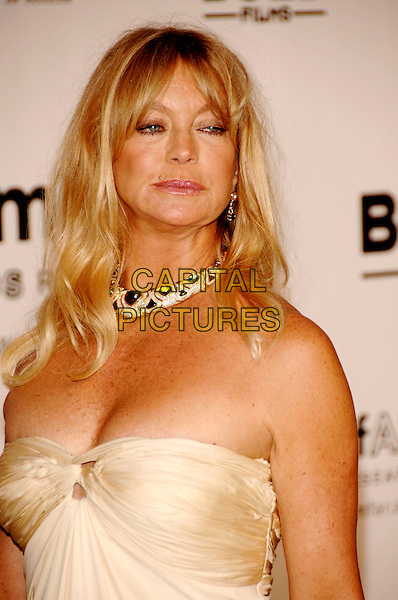 GOLDIE HAWN .Arrivals to the Cinema Against AIDS 2007 in aid of amfAR at Le Moulin de Mougins during 60th International Cannes Film Festival, Cannes, France  .May 23rd, 2007.half length diamond necklace jewellery jewelry strapless cream.CAP/PL.©Phil Loftus/Capital Pictures