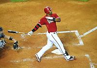 Jun. 1, 2011; Phoenix, AZ, USA; Arizona Diamondbacks first baseman Juan Miranda against the Florida Marlins at Chase Field. Mandatory Credit: Mark J. Rebilas-