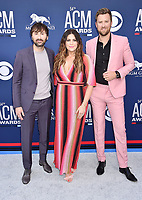 LAS VEGAS, CA - APRIL 07: (L-R) Dave Haywood, Hillary Scott and Charles Kelley of Lady Antebellum attend the 54th Academy Of Country Music Awards at MGM Grand Hotel &amp; Casino on April 07, 2019 in Las Vegas, Nevada.<br /> CAP/ROT/TM<br /> &copy;TM/ROT/Capital Pictures
