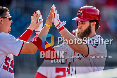 30 April 2017: Washington Nationals outfielder Bryce Harper returns to the dugout after hitting a solo home run to lead off the bottom of the 8th inning against the New York Mets at Nationals Park in Washington, DC. The Nationals defeated the Mets 23-5, with the Nationals setting several individual and team records, in the third game of their weekend series. Mandatory Credit: Ed Wolfstein Photo *** RAW (NEF) Image File Available ***