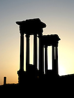 Two podia, Tetrapylon at twilight, reconstructed after 1963 by Syrian Directorate of Antiquities, Palmyra, Syria Picture by Manuel Cohen
