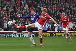 John Lundstram of Sheffield Utd  and Brad Potts of Barnsley during the championship match at the Oakwell Stadium, Barnsley. Picture date 7th April 2018. Picture credit should read: Simon Bellis/Sportimage