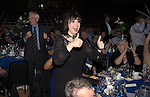 St Johnstone Hall of Fame Dinner, Perth Concert Hall...05.10.13<br /> Beverley Meyer plays at game of Head and Tails<br /> Picture by Graeme Hart.<br /> Copyright Perthshire Picture Agency<br /> Tel: 01738 623350  Mobile: 07990 594431