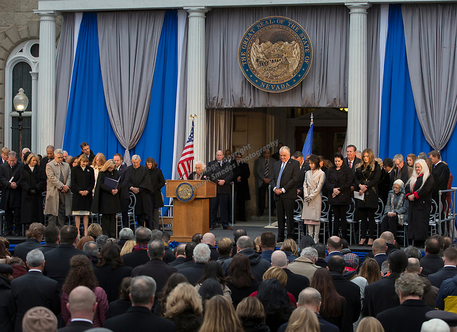 Reverend Deacon Reynelda James gives the Invocation during Governor-elect Steve Sisolak inauguration on the steps of the Nevada State Capitol in Carson City, Nev., Monday, Jan. 7, 2019. (AP Photo/Tom R. Smedes)