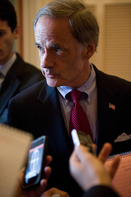 Sen. Tom Carper, D-Del., speaks with reporters on the first floor of the Capitol on Tuesday, June 22, 2010.