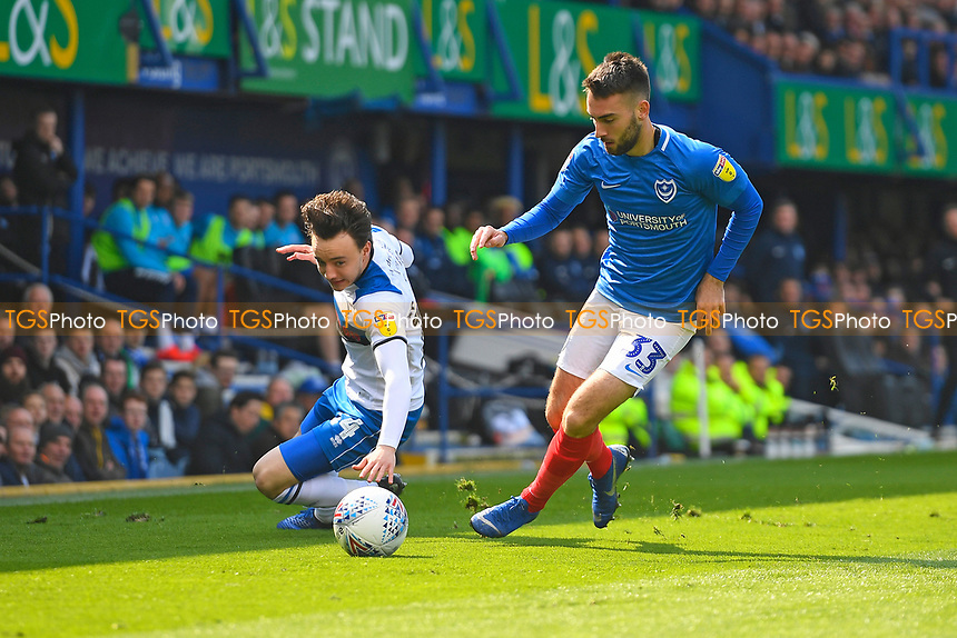Ben Close of Portsmouth gets the better of Ollie Rathbone of Rochdale during Portsmouth vs Rochdale, Sky Bet EFL League 1 Football at Fratton Park on 13th April 2019