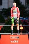 Primoz Roglic on the podium of the last Stage of La Vuelta 2019 . September 15, 2019. (ALTERPHOTOS/Francis Gonzalez)