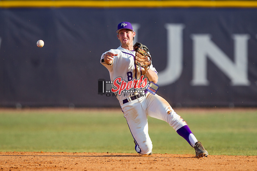 High Point Panthers shortstop Tony Fortier-Bensen (8) makes a throw from his knees against the Bowling Green Falcons at Willard Stadium on March 9, 2014 in High Point, North Carolina.  The Falcons defeated the Panthers 7-4.  (Brian Westerholt/Sports On Film)