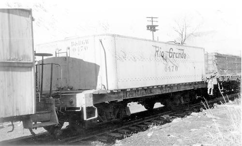 End side view of water car #0470 (ex Unitah) at Durango.<br /> D&amp;RGW  Durango, CO  Taken by Maxwell, John W. - 3/18/1966