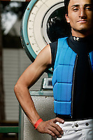 Jockey Rafael Bejarano poses for the photographer at the race track in Saratoga Springs, NY, USA, 14 August 2006.