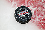 The official puck of the Wisconsin Badgers opening night against the Bemidji State Beavers at the LaBahn Arena Friday, October 19, 2012 in Madison, Wis. (Photo by David Stluka)