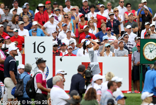 DES MOINES, IA - AUGUST 19: USA's Danielle Kang watches her tee shot during their match Saturday at the 2017 Solheim Cup in Des Moines, IA. (Photo by Dave Eggen/Inertia)