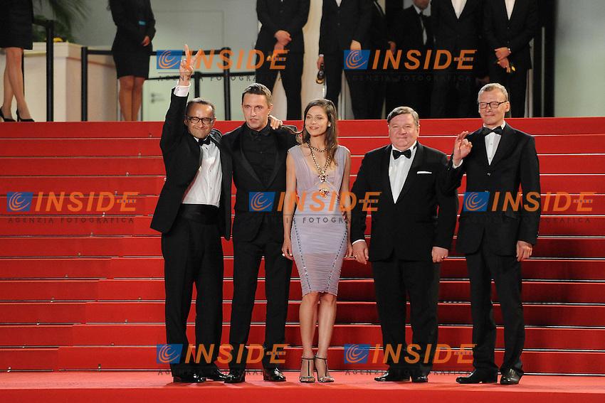 Vladimir Vdovichenkov, Elena Lyadova et Aleksey Serebryakov  <br /> Festival del Cinema di Cannes 2014<br /> Foto Panoramic / Insidefoto