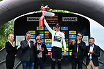 Wout Van Aert (BEL) Team Jumbo-Visma wears the first young riders White Jersey at the end of Stage 1 of the Criterium du Dauphine 2019, running 142km from Aurillac to Jussac, France. 9th June 2019<br /> Picture: ASO/Alex Broadway | Cyclefile<br /> All photos usage must carry mandatory copyright credit (© Cyclefile | ASO/Alex Broadway)