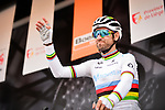 World Champion Alejandro Valverde (ESP) Movistar Team at sign on before the start of the 83rd edition of La Fl&egrave;che Wallonne 2019, running 195km from Ans to Huy, Belgium. 24th April 2019<br /> Picture: ASO/Gautier Demouveaux | Cyclefile<br /> All photos usage must carry mandatory copyright credit (&copy; Cyclefile | ASO/Gautier Demouveaux)