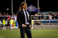 San Jose, CA - Tuesday June 11, 2019: Head coach Matías Almeyda celebrates a goal during the US Open Cup match between the San Jose Earthquakes and Sacramento Republic FC at Avaya Stadium.
