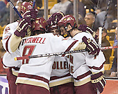 Brian Boyle, Brett Motherwell, Chris Collins, Peter Harrold - The Boston College Eagles defeated the Northeastern University Huskies 5-2 in the opening game of the 2006 Beanpot at TD Banknorth Garden in Boston, MA, on February 6, 2006.