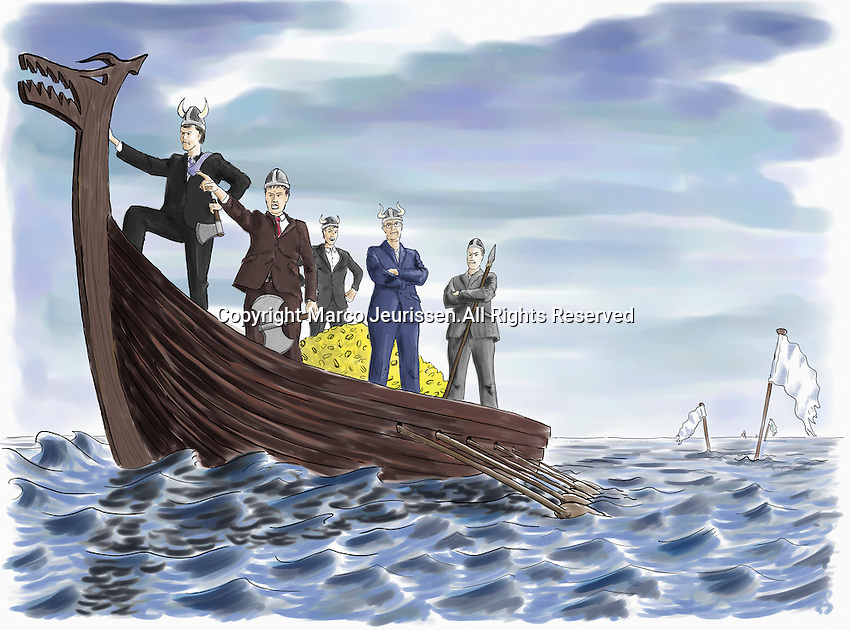 Rude businessmen on Viking boat with heap of money next to sunken ship