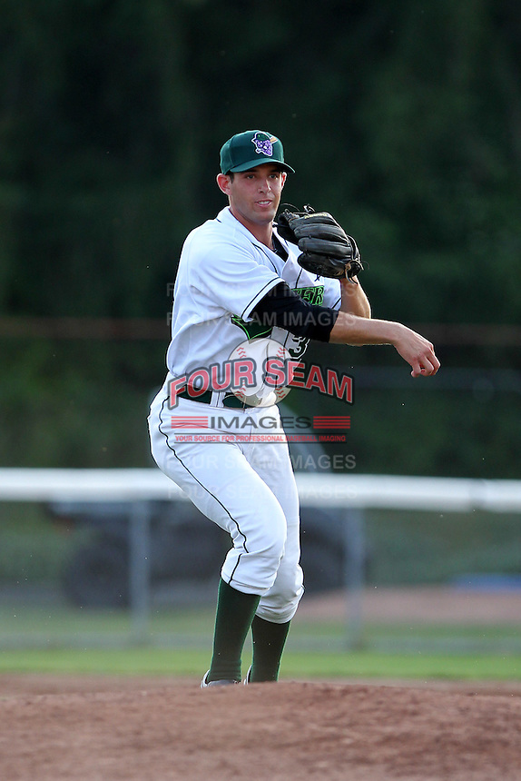 Jamestown Jammers third baseman Austin Nola #34 during a game against the Mahoning Valley Scrappers at Russell Diethrick Park on June 19, 2012 in Jamestown, New York.  Jamestown defeated Mahoning Valley 3-1.  (Mike Janes/Four Seam Images)