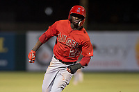 AZL Angels right fielder D'Shawn Knowles (20) hustles towards third base during an Arizona League game against the AZL Indians 2 at Tempe Diablo Stadium on June 30, 2018 in Tempe, Arizona. The AZL Indians 2 defeated the AZL Angels by a score of 13-8. (Zachary Lucy/Four Seam Images)