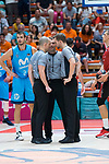 Referees David Sanchez (l), Benjamin Jimenez and Jordi Aliaga (r) during Montakit Fuenlabrada vs Movistar Estudiantes game of journey three of Liga Endesa . October 06, 2019. (ALTERPHOTOS/Francis Gonzalez)