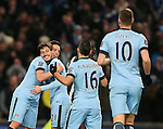 David Silva of Manchester City celebrates the first of his two goals with Samir Nasri of Manchester City - Barclays Premier League - Manchester City vs Newcastle Utd - Etihad Stadium - Manchester - England - 21st February 2015 - Picture Simon Bellis/Sportimage