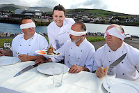 14-8-2014: repro free photo: A FEAST OF CULINARY ATHLETICS TO KICK OF IRELAND&rsquo;S FOODIEST FESTIVAL<br /> In front of blindfolded chefs Martin Bealin, Jean Marie Vaireaux and Mark Murphy, student chef, Liadan Sheehy her running and cycling skills as they prepare for the Dingle Culinary Pentathlon, which will take place on the first day of the Dingle Food Festival October 3rd-5th and will see students from professional culinary schools throughout the country test their athletic and cookery skills to the limit. To win, students will have to race through the town, on foot and by bike, picking up a blind basket of ingredients en route. They will then have to create a 2 course lunch in a heated cook off that will be judged by peers and top professionals alike.<br /> Photo: Don MacMonagle<br /> <br /> press release:<br /> Having been voted the No.1 Foodiest Town in Ireland earlier this year, Dingle will kick off its hugely popular Dingle Peninsula Food Festival, 3- 5 October, with a feast of culinary athletics, leaving visitors in no doubt as to why the town won this much coveted title.<br /> <br /> The inaugural Dingle Culinary Pentathlon, which will take place on the first day of the Festival, will see students from professional culinary schools throughout the country test their athletic and cookery skills to the limit. To win, students will have to race through the town, on foot and by bike, picking up a blind basket of ingredients en route.  They will then have to create a 2 course lunch in a heated cook off that will be judged by peers and top professionals alike.   <br /> <br /> To celebrate the festival&rsquo;s 8th anniversary, The Taste Trail, one of the most popular ingredients of the weekend, will now take in 80 establishments around the town; Derry Clarke, who has created the ultimate Dingle Pie, will be raising funds for charity on the Trail at Liam O&rsquo;Neill&rsquo;s art gallery, while milliner, Kathleen McAuliffe will be serving up Mad Hatter cocktails with Dingle Gin and jazz.  Free demos and workshops include a mix of