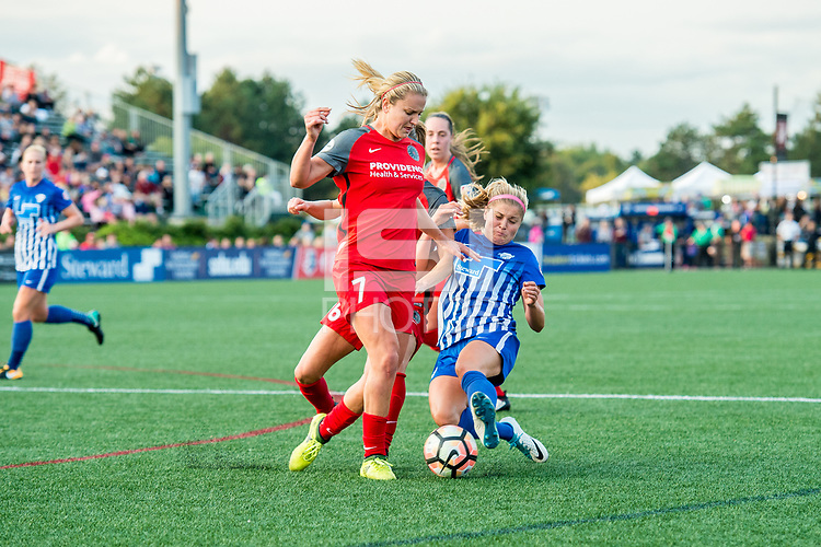 Boston, MA - Sunday September 10, 2017: Lindsey Horan and Rosie White during a regular season National Women's Soccer League (NWSL) match between the Boston Breakers and Portland Thorns FC at Jordan Field.