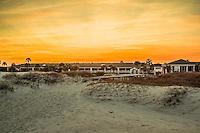 The boardwalk at sunset on the beach at the Days Inn on Jekyll Island Georgia.