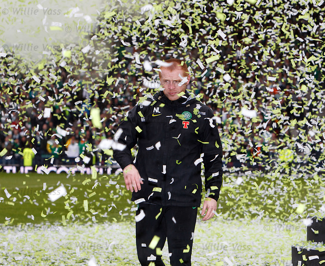 Celtic manager Neil Lenon walks through the confetti and reflects on his season