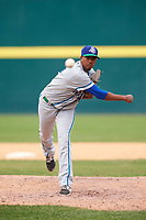 Hartford Yard Goats relief pitcher Johendi Jiminian (54) follows through on a pitch during a game against the Binghamton Rumble Ponies on July 9, 2017 at NYSEG Stadium in Binghamton, New York.  Hartford defeated Binghamton 7-3.  (Mike Janes/Four Seam Images)