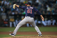 OAKLAND, CA - SEPTEMBER 22:  Chase De Jong #61 of the Minnesota Twins pitches against the Oakland Athletics during the game at the Oakland Coliseum on Saturday, September 22, 2018 in Oakland, California. (Photo by Brad Mangin)