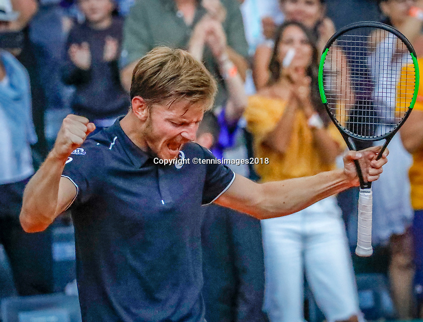 Paris, France, 27 May, 2018, Tennis, French Open, Roland Garros, David Goffin (BEL) celebrates his win over Haase (NED)<br /> Photo: Henk Koster/tennisimages.com