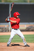 Los Angeles Angels minor league infielder Wendell Soto #3 during an instrasquad game at the Tempe Diablo Stadium Complex on October 10, 2012 in Tempe, Arizona.  (Mike Janes/Four Seam Images)