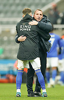1st January 2020; St James Park, Newcastle, Tyne and Wear, England; English Premier League Football, Newcastle United versus Leicester City; Brendan Rogers Manager of Leicester City hugs James Maddison of Leicester City at the end of the match - Strictly Editorial Use Only. No use with unauthorized audio, video, data, fixture lists, club/league logos or 'live' services. Online in-match use limited to 120 images, no video emulation. No use in betting, games or single club/league/player publications