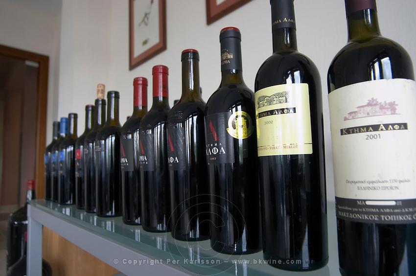 Range of Alpha wines. Alpha Estate Winery, Amyndeon, Macedonia, Greece