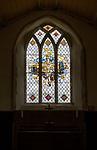Millennium stained glass window of the Risen Christ by Pippa Blackall, Alpheton church, Suffolk, England, UK