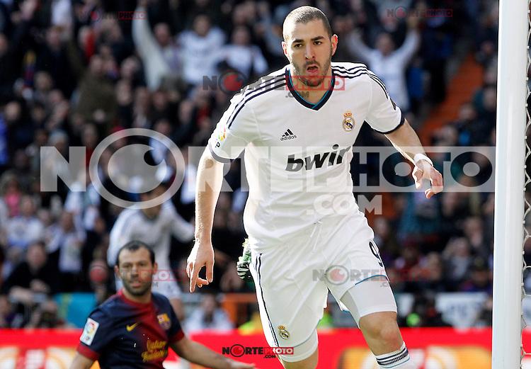Real Madrid's Karim Benzema celebrates goal in presence of FC Barcelona's Javier Mascherano during La Liga match.March 02,2013. (ALTERPHOTOS/Acero) /NortePhoto