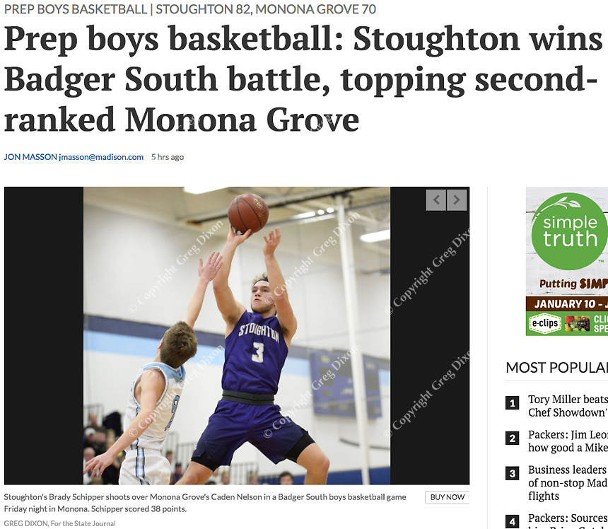 Stoughton's Brady Schipper shoots over Monona Grove's Caden Nelson in the first period, as Stoughton takes on Monona Grove in Wisconsin Badger South boys high school basketball at Monona Grove High School on Friday, 1/12/18 | Wisconsin State Journal article front page Sports 1/13/18 and online at http://host.madison.com/wsj/sports/high-school/basketball/boys/prep-boys-basketball-stoughton-wins-badger-south-battle-topping-second/article_a09be73e-f4b4-595c-baa9-3f3d2524dc1e.html