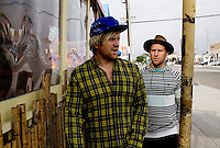 Venice, California, December 8, 2008 - Brothers and long board surfers Chad (R) and Trace Marshall outside Cafe Venice. The brothers along with Rick Klotz created the clothing line, Warriors of Radness.