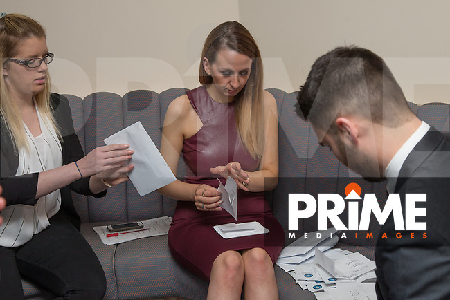 The Goal of the Season votes are counted during the Wycombe Wanderers End of Season 2016 Awards Dinner at Adams Park, High Wycombe, England on 1 May 2016. Photo by David Horn