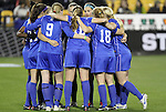 02 December 2011: Duke's starters huddle before the game. The Duke University Blue Devils defeated the Wake Forest University Demon Deacons 4-1 at KSU Soccer Stadium in Kennesaw, Georgia in an NCAA Division I Women's Soccer College Cup semifinal game.