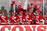 Wisconsin Badgers look on during an NCAA women's hockey game against the Boston University Terriers on October 29, 2011 in Madison, Wisconsin. The Badgers 6-1. (Photo by David Stluka)